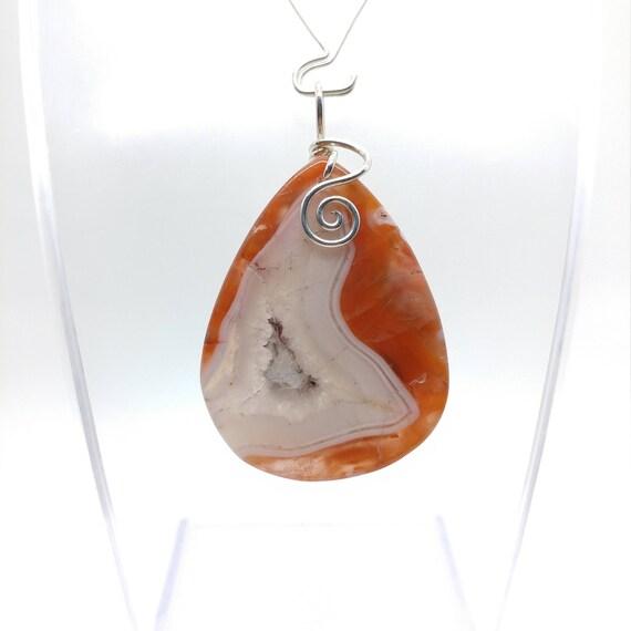 Red Stone Pendant Necklace | Berber Agate Pendant | Sterling Silver Pendant | Semiprecious Gemstone Pendant | Simple Stone Drop Pendant