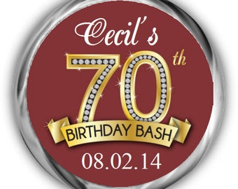 70th Birthday Stickers - Personalized Birthday Hershey Kisses Favors - Diamond Birthday Sticker