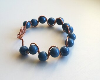Wavy Copper Wire Wrapped Bracelet with Blue Glass Beads / Copper Anniversary Gift / Unique Bracelet