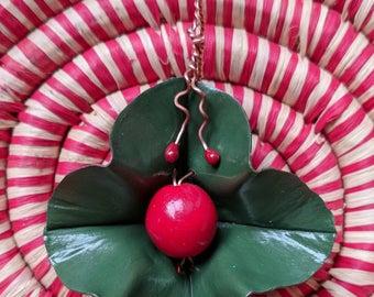 "Olive ""Holly Berry"" Flower Pendant, Vintage Red Glass - Foldformed Copper, Handpainted, Torchfired Enamel Tendrils, Original design."