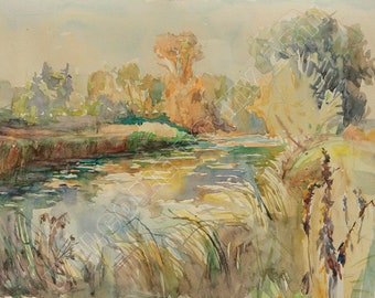 Digital Image, Morning on the River Oster, Watercolor, Painting, Yellow, Orange, Green, Autumn, Reflections, For print