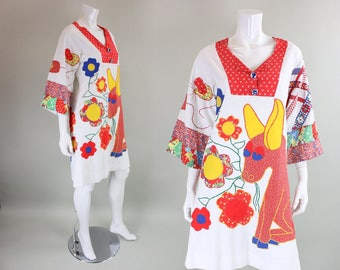 1960's Dress with Patchwork Figural Applique