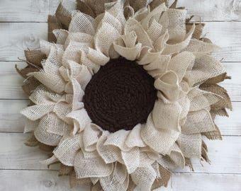 White Burlap Sunflower wreath
