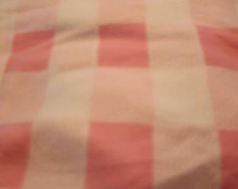6 Vintage Polar Fleece large pink and white checks.