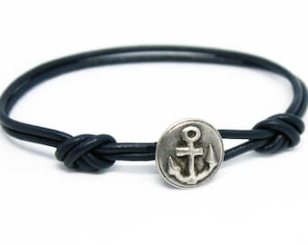 Anchor Leather Bracelet, Anchor Bracelet