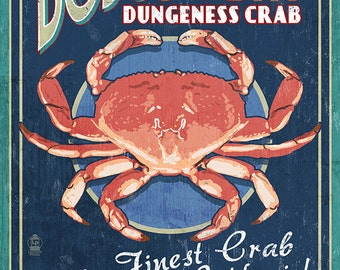 Bodega Bay, California - Dungeness Crab Vintage Sign (Art Prints available in multiple sizes)