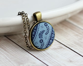 Dusty Blue Hippie Necklace, Small Vintage Floral Fabric Jewelry, Boho Pendant, Country Wedding