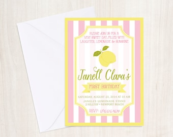 LEMONADE Birthday Party Invite - Lemonade Stand Invitation - Lemon Party - Party Supplies