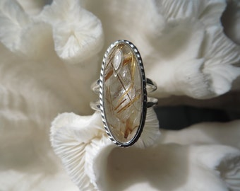 Golden Rutile Agate Ring Size 7.25