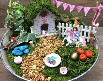 Fairy garden kit with container DIY, Pink & Blue polka dot, flower pin fairy house, galvanized outdoor container