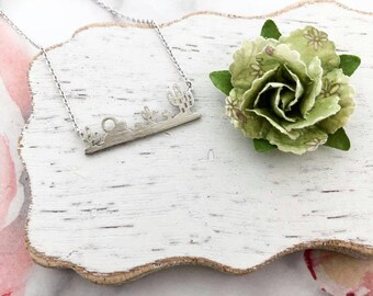 Silver Cactus Bar Dainty Necklace