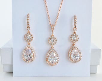 Rose Gold Crystal Bridal Set Rose Gold Cubic Zirconia Jewelry Set Wedding Rose Gold Bridal Jewelry Set Rose Gold Bridesmaid Jewelry Set