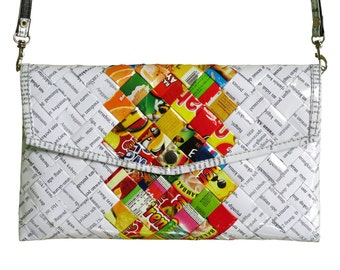 Envelop clutch using candy wrappers and office document paper - FREE SHIPPING - gift for vegans, naveh milo, upcycling by milo