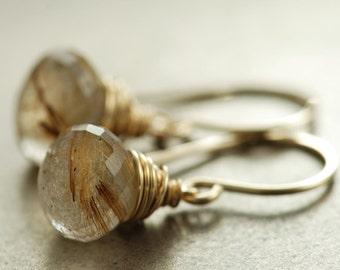 Golden Rutilated Quartz Earrings, Gold Dangle Earrings, Gemstone Jewelry, Sheath, Winter Fashion, aubepine