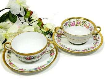 Two Limoges Bouillon Cups and Saucers Charles Ahrenfeldt for Cowell & Hubbard