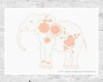 Baby Elephant Art | Pastel Nursery Art | Baby Shower Gift