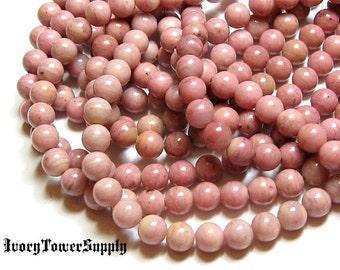 1 Strand 6mm Rhodonite Beads, Gemstone Beads, Semiprecious Beads, Natural Stone Beads, Pink Beads, Round Beads