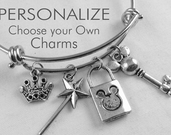 Happiest Place on Earth Customize Bangle, Inspired, Silver Bracelet, Charms, Personalized Gift, Mickey, Disney, Magic Kingdom, vacation