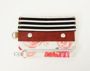 Women's Minimalist Wallet. Wristlet. Everyday wallet. Black and White Stripes and floral. Mother's Day Gift. Casual Clutch. Modern Wallet