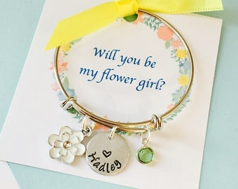 Will you be my flower girl, Silver, Flower Girl Bracelet, Flower girl jewelry, flower girl gift, Personalized flower girl bracelet