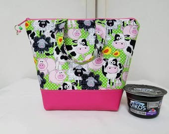 Kids Lunch Bag with Farm Animals, Vinyl Bottom, Pigs and Cows Lunch Box, Insulated, Washable, Nylon Lining with Inner Zipper Pocket,