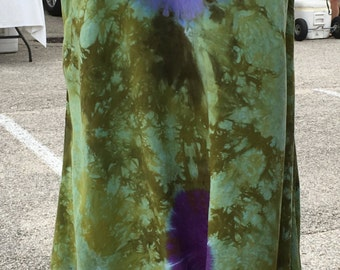 Tie Dye Green and Purple Tunic Tank Top With Asymmetric Hem