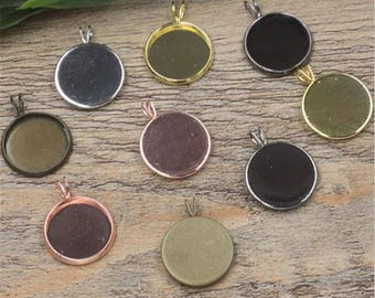 50pcs 10-20mm brass bezel Pendant trays , setting Jewelry findings