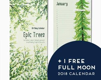 Birthday Calendar ** EPIC TREE Calendar - Wall calendar - Epic trees of the world - Famous trees - perpetual calendar