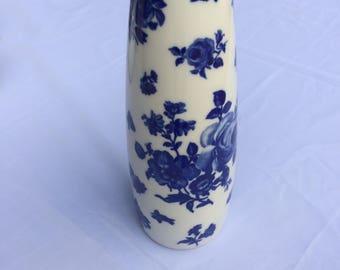 Cobalt deep blue rose & white vase, mid century porcelain flower vase, real cobalt, hand made, retro, Shabby Chic, vintage West Germany