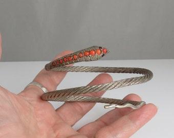 Antique Sterling Coral Egyptian Snake Arm Bracelet. Circa 1920's