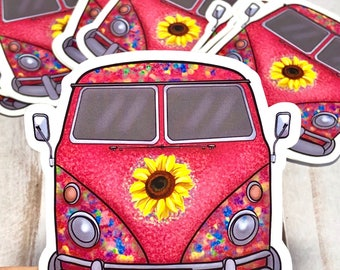 Hippie Bus Stickers Pink Camper Van Scapbooking Classic Car Lover Sunflower Flower Power Kids Car Stickers Classic Car Labels Wanderlust