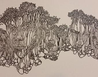 Between the Wind and Water, original woodcut print