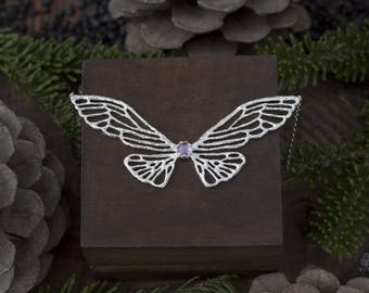 Butterfly wings pendant with amethyst or blue topaz, silver butterfly wings, silver snitch, topaz or amethyst necklace, insect jewelry