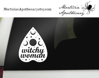 Witchy Woman Car Decal - Pagan Car Decal - Ouija Planchette car and window sticker