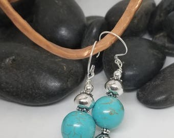 Turquoise and Silver Earrings/ boho jewelry/ Sterling Silver earrings/ turquoise earrings/ minimalist earrings/ gift for mom
