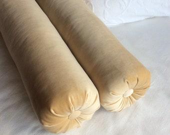 PAIR Maze butter velvet Bolster Pillows  6x20