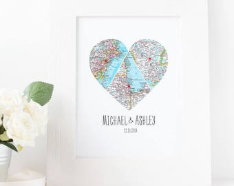Triangle Map Heart Art, Personalized Map, Husband Gift, Wife Gift, Unique Wedding Gift, for Couple, Anniversary Gift, Heart Map Print.