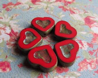 Heart Czech Glass Bead, 14 x 12mm Heart, Czech Glass Beads, earring pairs, Red Czech Glass Heart, Red Czech Glass, Czech Glass, Heart, Red