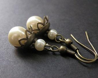 Ivory Pearl Earrings Handmade in Bronze . Victorian Lace. Handmade Earrings.
