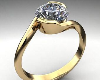 lara ring – 1.5 carat diamond cut round NEO moissanite engagement ring, half bezel ring