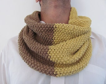 Knitted scarf .handmade.Valentine's Day Gifts.unisex.Cotton.Light  brown and Mustard.under 50 USD .winter ..