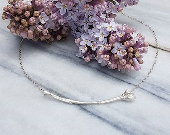 Lilac bud necklace cast in sterling silver -mothers day gift- ready to ship - mothers day sale