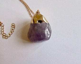 Amethyst Gemstone Natural Shape Pendant Free UK shipping Gift boxed + Handmade Gift bag CHA1