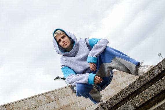 long hoodie sleeves Man Blue hood Cotton Gray Oversized sizes loose Sweatshirt Hoodie Hoodie Extra Plus Woman Travelling Big Ocean xaqnZ
