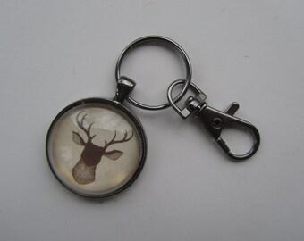 Brown Deer Head Key Chain, Deer Key Fob, Deer Key Chain, Hunting Lover Gift, Up North Woods Key Chain