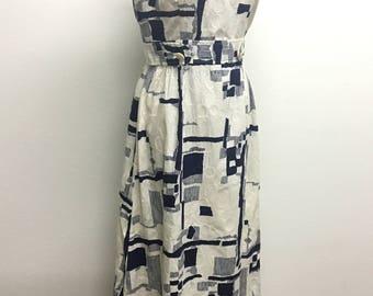 Vintage 1960's Tori Richard Honolulu blue & white cotton barkcloth maxi dress L