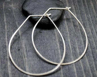 Teardrop Earrings - Silver Hoop Earrings- Thin Hoop Earrings - Hoop Earrings - Silver Earrings - Minimalist Earrings
