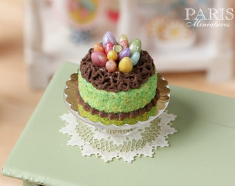 MTO-Easter Cake Decorated with Candy Eggs in Chocolate 'Nest' - Miniature Food in 12th Scale