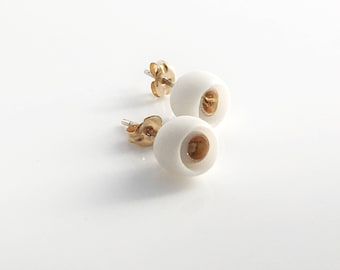 White Gold Porcelain Earrings ∙ Small Flower Earrings ∙ 14ct Gold Filled Studs ∙ Alicante ∙ Porcelain Jewelry ∙ Ceramic Jewelry Gift For Her