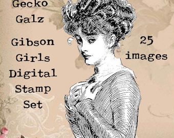 Gibson Girls Digital Stamp Set